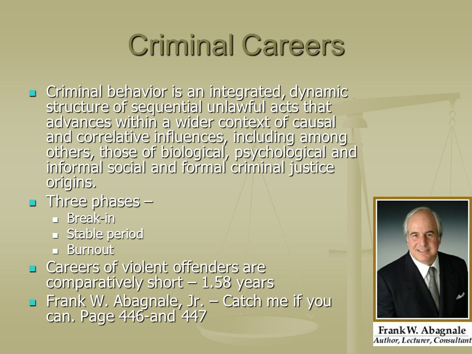 Criminal Careers Criminal behavior is an integrated, dynamic structure of sequential unlawful acts that advances within a wider context of causal and