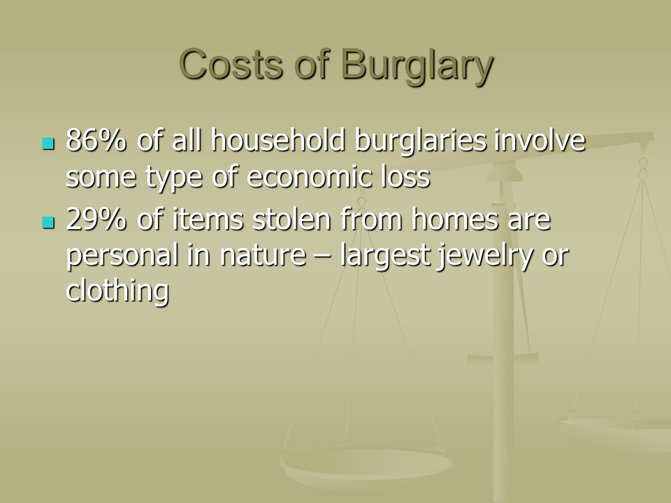 Costs of Burglary 86% of all household burglaries involve some type of economic loss 86% of all household burglaries involve some type of economic los