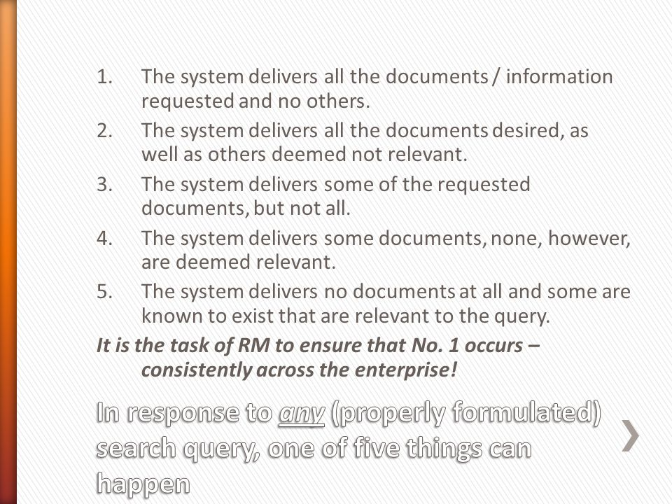 1.The system delivers all the documents / information requested and no others.