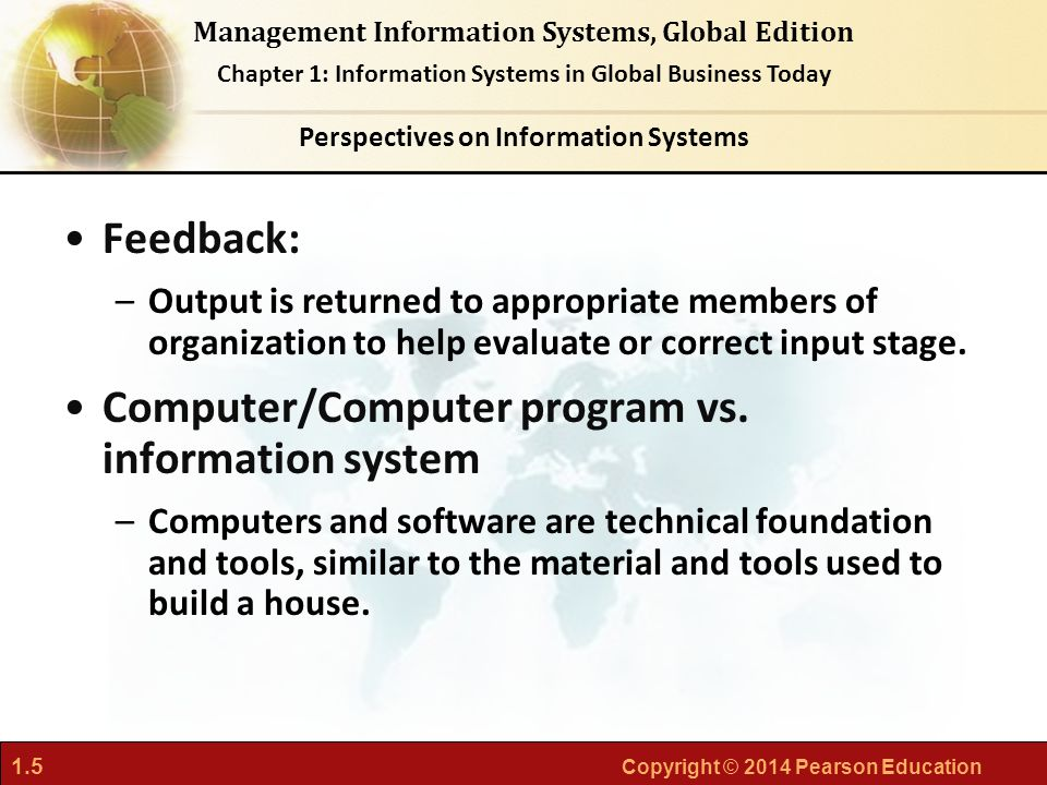 1.6 Copyright © 2014 Pearson Education Management Information Systems, Global Edition Chapter 1: Information Systems in Global Business Today An information system contains information about an organization and its surrounding environment.