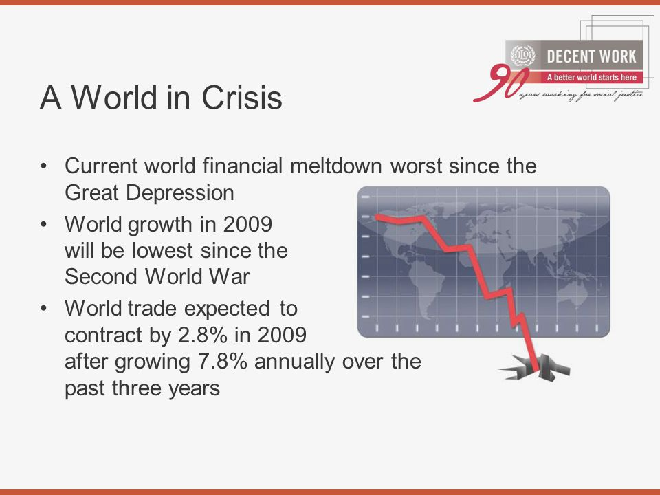 Current world financial meltdown worst since the Great Depression World growth in 2009 will be lowest since the Second World War World trade expected to contract by 2.8% in 2009 after growing 7.8% annually over the past three years A World in Crisis