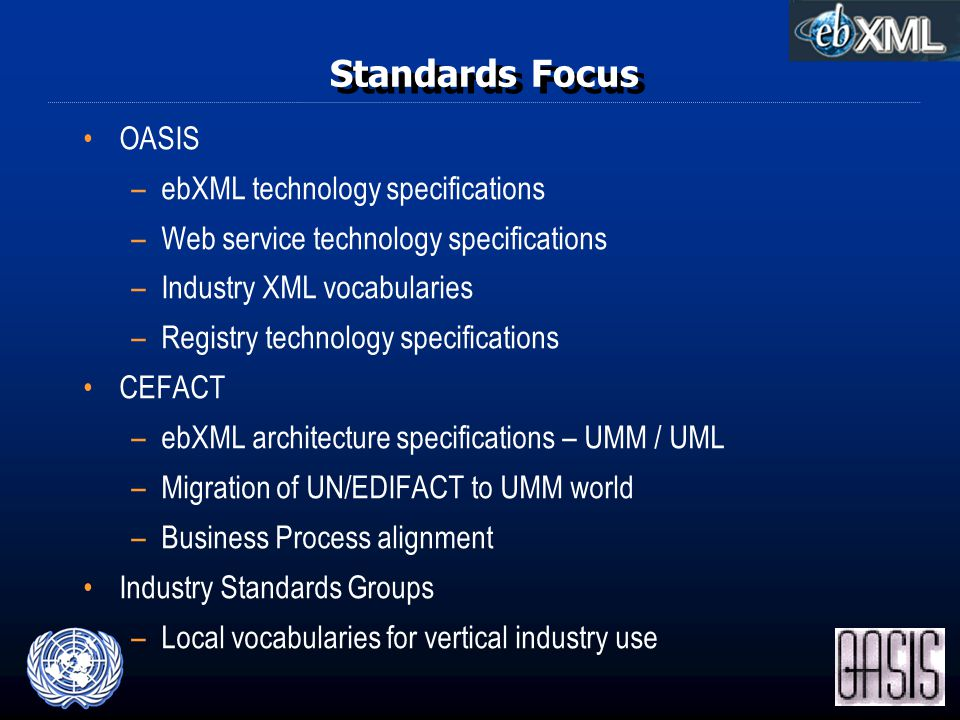 Standards Focus OASIS –ebXML technology specifications –Web service technology specifications –Industry XML vocabularies –Registry technology specifications CEFACT –ebXML architecture specifications – UMM / UML –Migration of UN/EDIFACT to UMM world –Business Process alignment Industry Standards Groups –Local vocabularies for vertical industry use