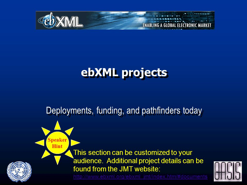 ebXML projects Deployments, funding, and pathfinders today Speaker Hint This section can be customized to your audience.