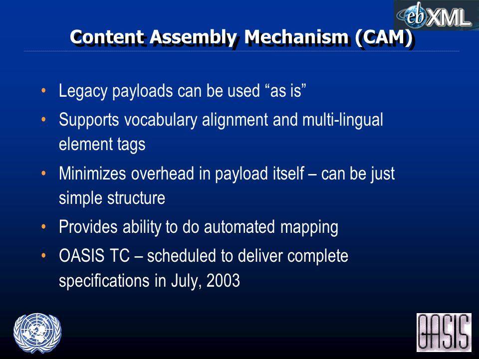 Content Assembly Mechanism (CAM) Legacy payloads can be used as is Supports vocabulary alignment and multi-lingual element tags Minimizes overhead in payload itself – can be just simple structure Provides ability to do automated mapping OASIS TC – scheduled to deliver complete specifications in July, 2003