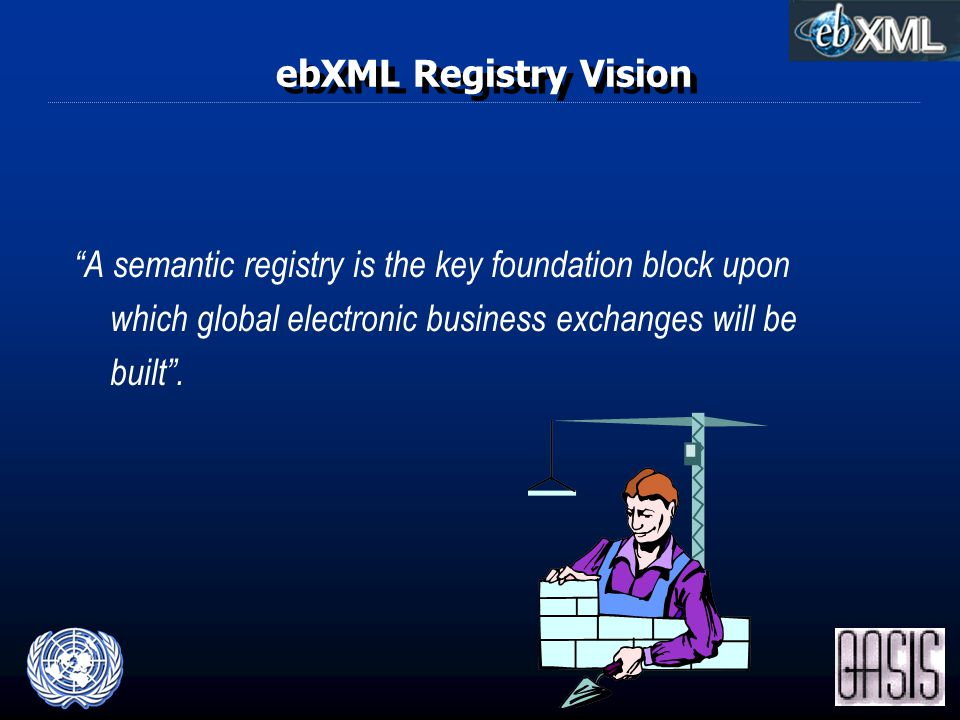 ebXML Registry Vision A semantic registry is the key foundation block upon which global electronic business exchanges will be built .