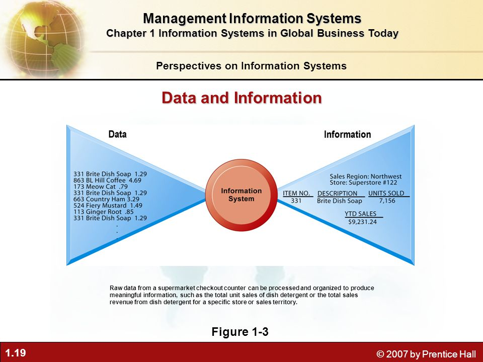 1.19 © 2007 by Prentice Hall Perspectives on Information Systems Management Information Systems Chapter 1 Information Systems in Global Business Today Raw data from a supermarket checkout counter can be processed and organized to produce meaningful information, such as the total unit sales of dish detergent or the total sales revenue from dish detergent for a specific store or sales territory.