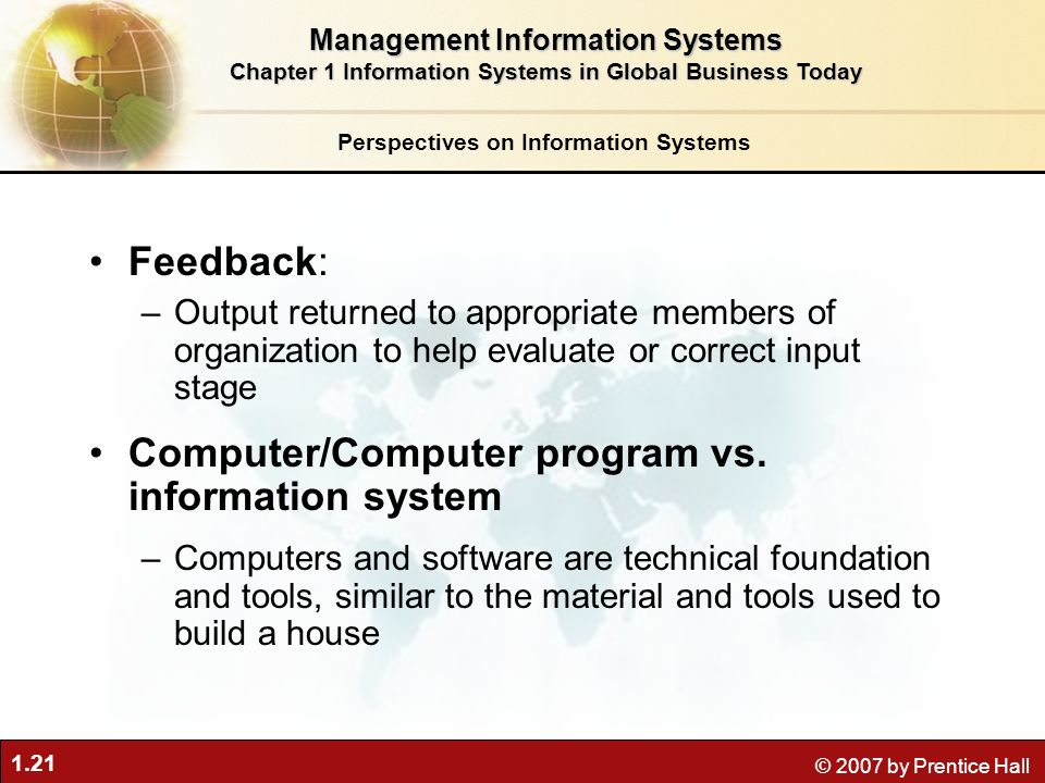 1.21 © 2007 by Prentice Hall Feedback: –Output returned to appropriate members of organization to help evaluate or correct input stage Computer/Computer program vs.