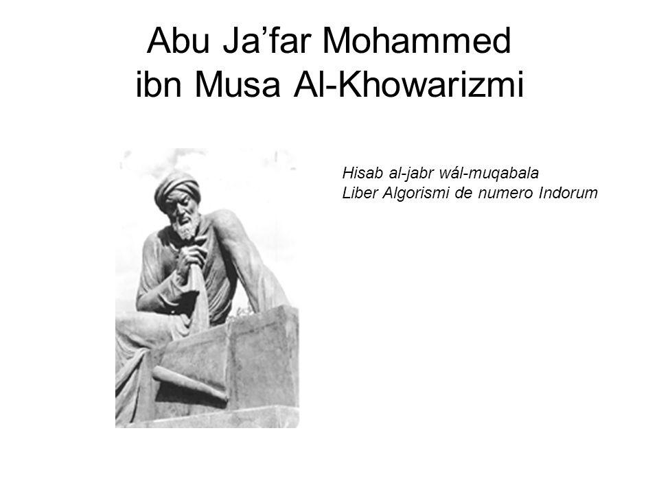 Abu Ja'far Mohammed ibn Musa Al-Khowarizmi Hisab al-jabr wál-muqabala Liber Algorismi de numero Indorum
