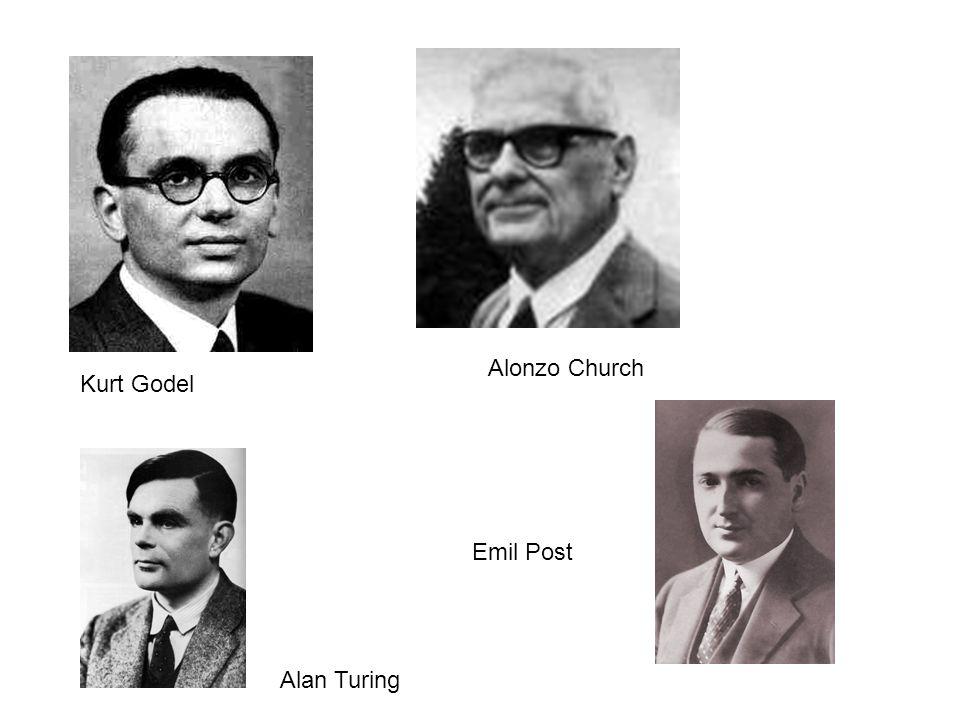 Alonzo Church Kurt Godel Alan Turing Emil Post