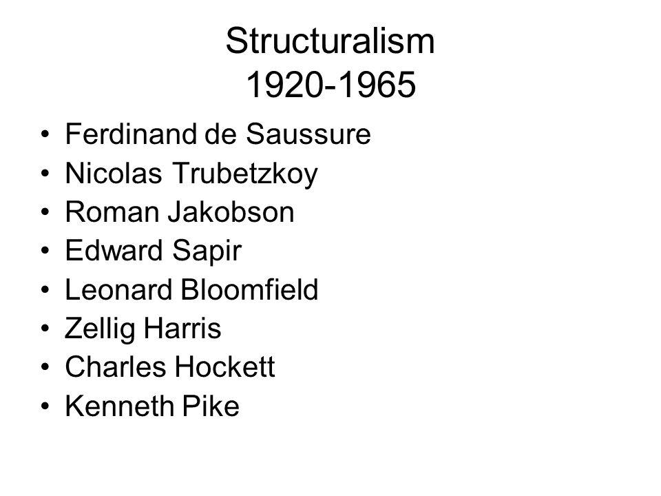 Structuralism 1920-1965 Ferdinand de Saussure Nicolas Trubetzkoy Roman Jakobson Edward Sapir Leonard Bloomfield Zellig Harris Charles Hockett Kenneth