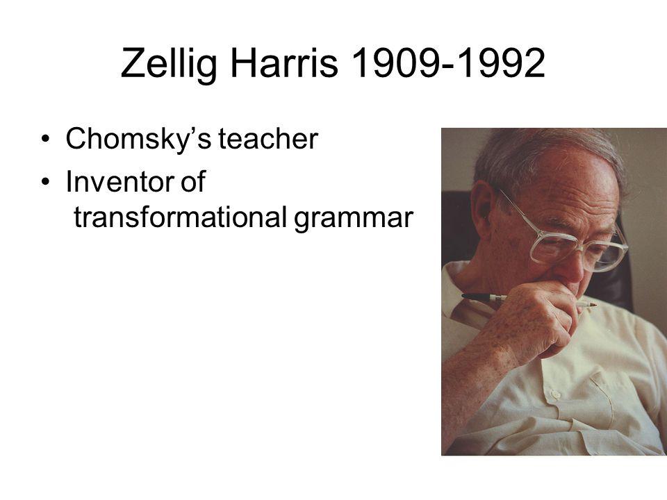 Zellig Harris 1909-1992 Chomsky's teacher Inventor of transformational grammar