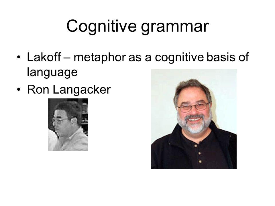 Cognitive grammar Lakoff – metaphor as a cognitive basis of language Ron Langacker