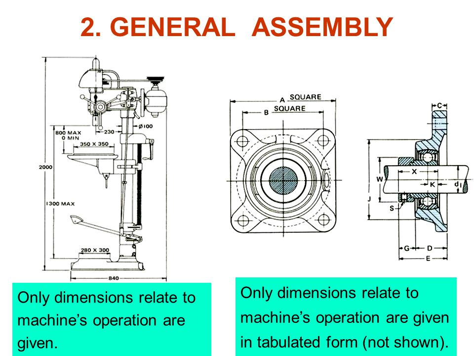 Only dimensions relate to machine's operation are given.
