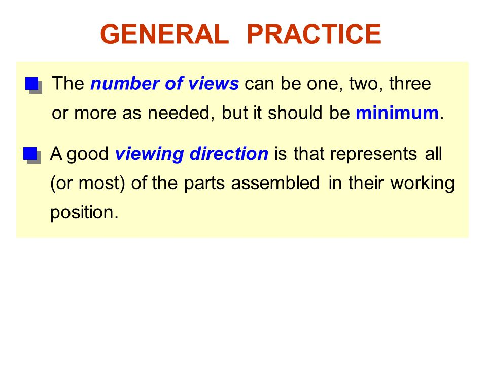 GENERAL PRACTICE The number of views can be one, two, three or more as needed, but it should be minimum.