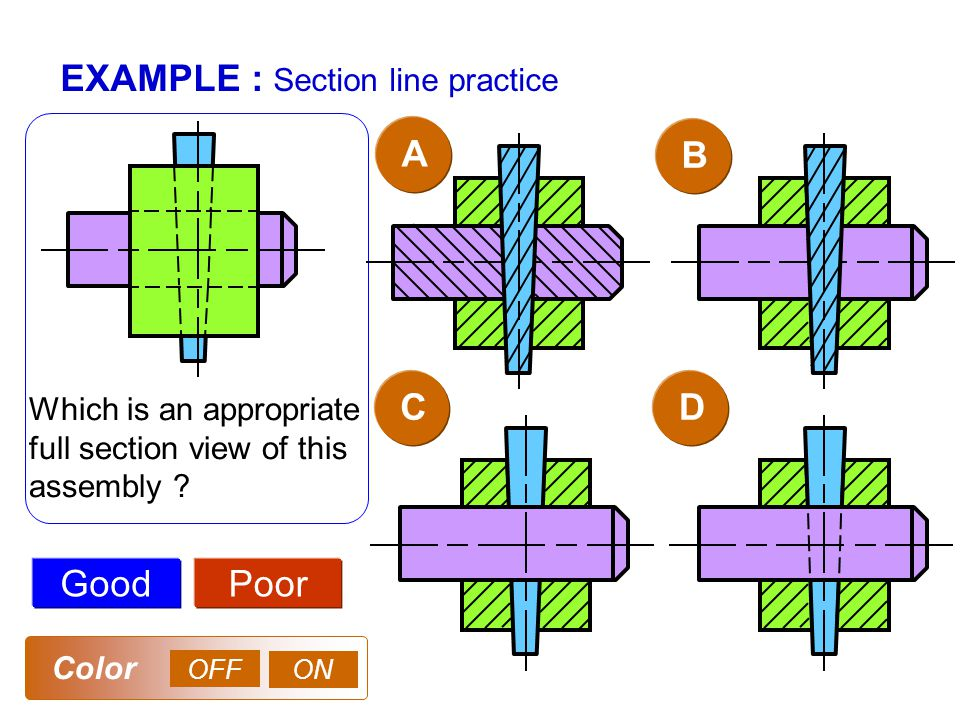 EXAMPLE : Section line practice AB GoodPoor Which is an appropriate full section view of this assembly .