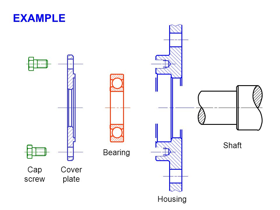 Shaft Housing Bearing Cover plate Cap screw EXAMPLE