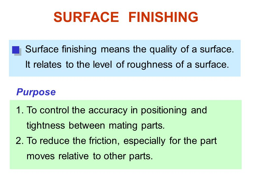 SURFACE FINISHING 1.To control the accuracy in positioning and tightness between mating parts.