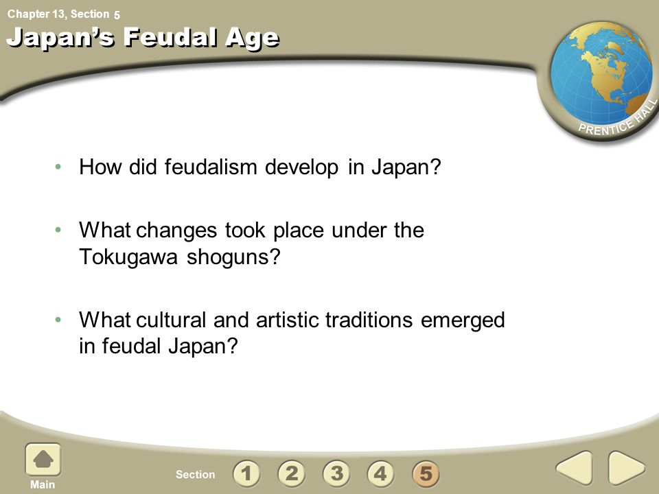 Chapter 13, Section Japan's Feudal Age How did feudalism develop in Japan? What changes took place under the Tokugawa shoguns? What cultural and artis