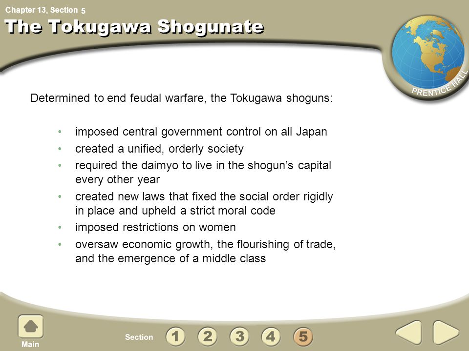 Chapter 13, Section The Tokugawa Shogunate imposed central government control on all Japan created a unified, orderly society required the daimyo to l