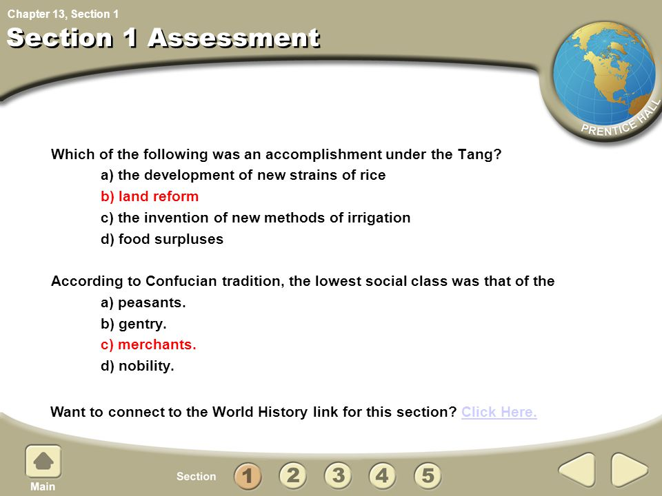 Chapter 13, Section Which of the following was an accomplishment under the Tang? a) the development of new strains of rice b) land reform c) the inven