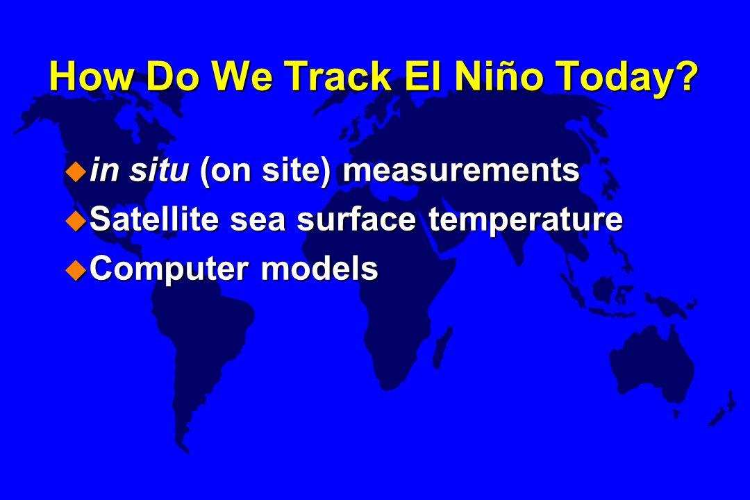 How Do We Track El Niño Today? u in situ (on site) measurements u Satellite sea surface temperature u Computer models