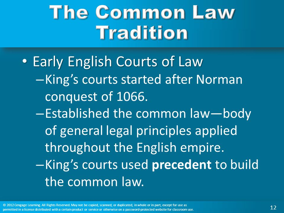 Early English Courts of Law Early English Courts of Law – King's courts started after Norman conquest of 1066. – Established the common law—body of ge