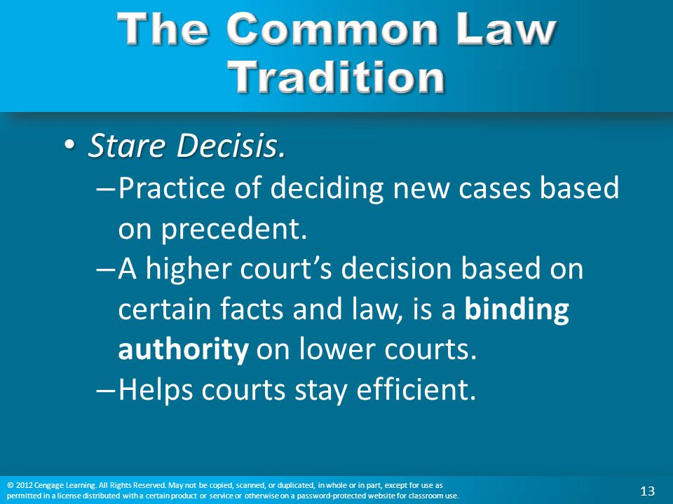 Stare Decisis. Stare Decisis. – Practice of deciding new cases based on precedent. – A higher court's decision based on certain facts and law, is a bi