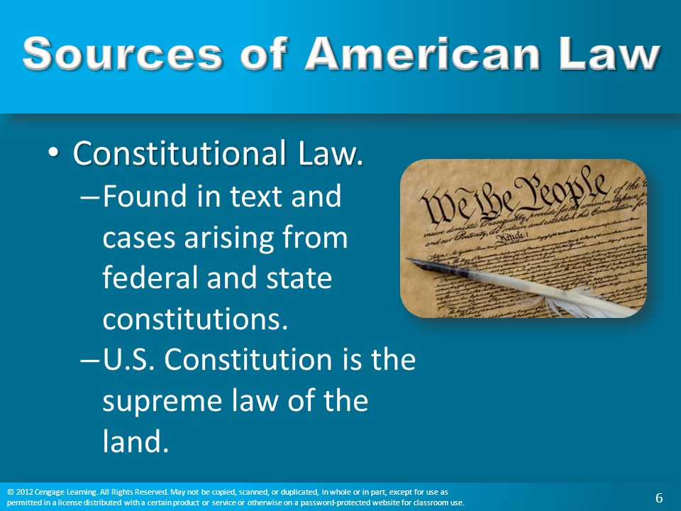 Constitutional Law. Constitutional Law. – Found in text and cases arising from federal and state constitutions. – U.S. Constitution is the supreme law