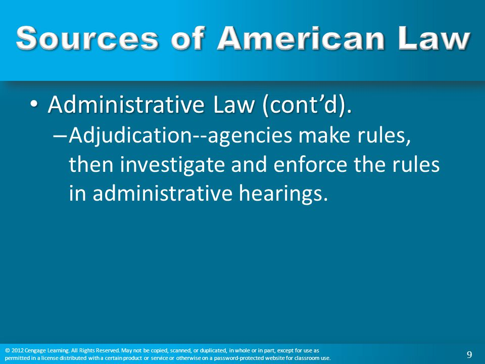 Administrative Law (cont'd). Administrative Law (cont'd). – Adjudication--agencies make rules, then investigate and enforce the rules in administrativ