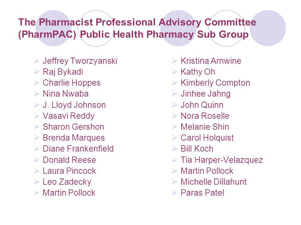 The Pharmacist Professional Advisory Committee (PharmPAC) Public Health Pharmacy Sub Group  Jeffrey Tworzyanski  Raj Bykadi  Charlie Hoppes  Nina Nwaba  J.