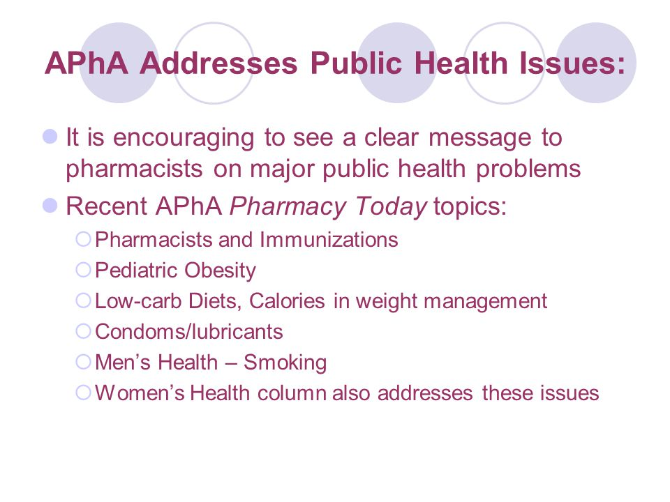 APhA Addresses Public Health Issues: It is encouraging to see a clear message to pharmacists on major public health problems Recent APhA Pharmacy Today topics:  Pharmacists and Immunizations  Pediatric Obesity  Low-carb Diets, Calories in weight management  Condoms/lubricants  Men's Health – Smoking  Women's Health column also addresses these issues