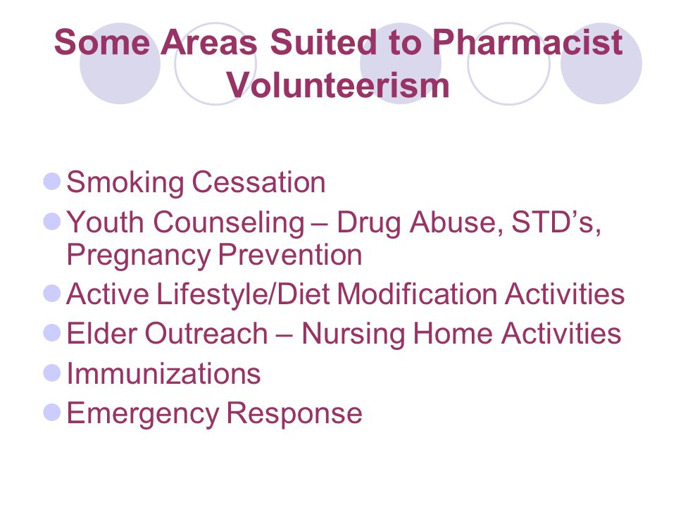 Some Areas Suited to Pharmacist Volunteerism Smoking Cessation Youth Counseling – Drug Abuse, STD's, Pregnancy Prevention Active Lifestyle/Diet Modification Activities Elder Outreach – Nursing Home Activities Immunizations Emergency Response