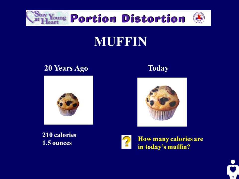 MUFFIN 20 Years AgoToday 210 calories 1.5 ounces How many calories are in today's muffin?