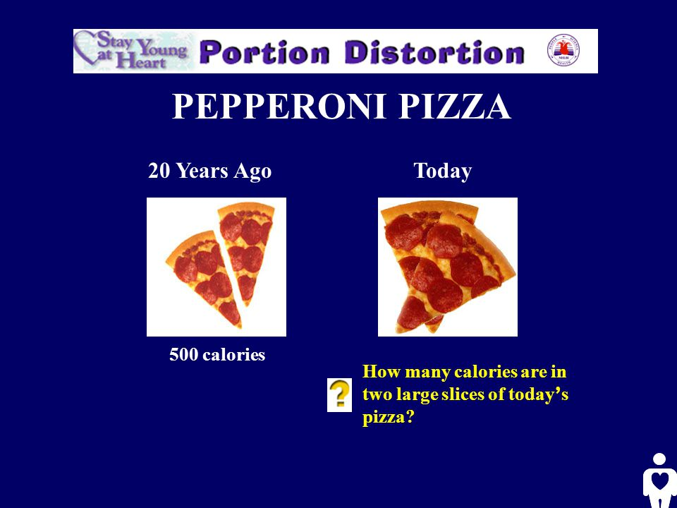 PEPPERONI PIZZA 20 Years AgoToday 500 calories How many calories are in two large slices of today ' s pizza