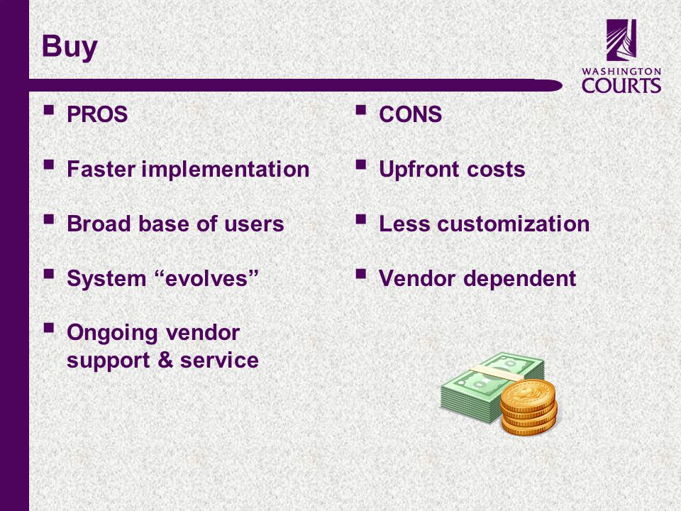 "c Buy  PROS  Faster implementation  Broad base of users  System ""evolves""  Ongoing vendor support & service  CONS  Upfront costs  Less customi"