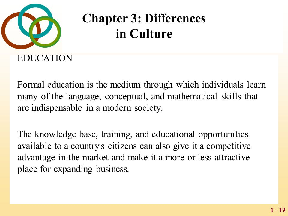 1 - 19 Chapter 3: Differences in Culture EDUCATION Formal education is the medium through which individuals learn many of the language, conceptual, an