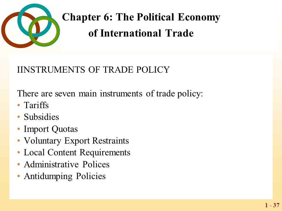 1 - 37 Chapter 6: The Political Economy of International Trade IINSTRUMENTS OF TRADE POLICY There are seven main instruments of trade policy: Tariffs