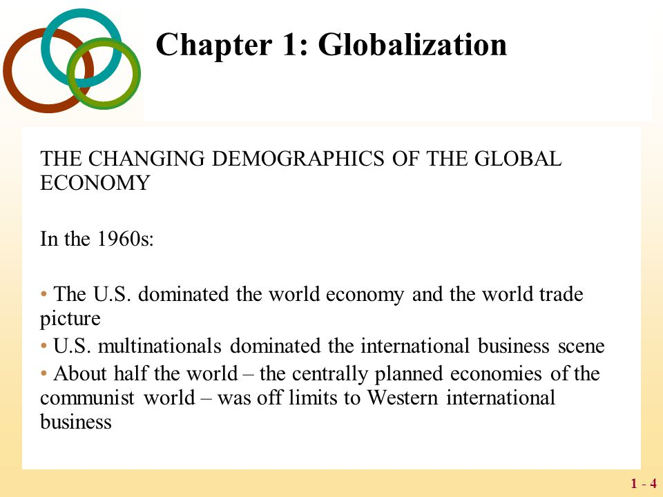 1 - 4 Chapter 1: Globalization THE CHANGING DEMOGRAPHICS OF THE GLOBAL ECONOMY In the 1960s: The U.S. dominated the world economy and the world trade
