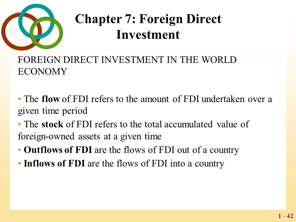 1 - 42 Chapter 7: Foreign Direct Investment FOREIGN DIRECT INVESTMENT IN THE WORLD ECONOMY The flow of FDI refers to the amount of FDI undertaken over