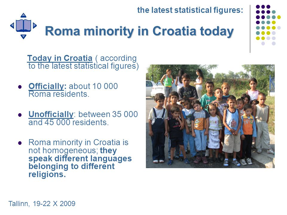 Roma minority in Croatia today Today in Croatia ( according to the latest statistical figures) Officially: about 10 000 Roma residents. Unofficially: