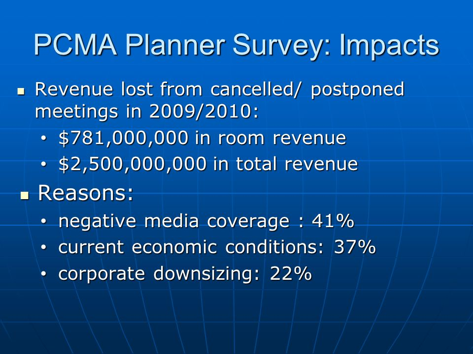 PCMA Planner Survey: Impacts Revenue lost from cancelled/ postponed meetings in 2009/2010: Revenue lost from cancelled/ postponed meetings in 2009/2010: $781,000,000 in room revenue $781,000,000 in room revenue $2,500,000,000 in total revenue $2,500,000,000 in total revenue Reasons: Reasons: negative media coverage : 41% negative media coverage : 41% current economic conditions: 37% current economic conditions: 37% corporate downsizing: 22% corporate downsizing: 22%