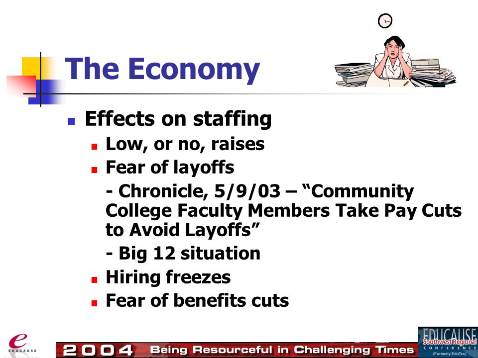 Effects on staffing Low, or no, raises Fear of layoffs - Chronicle, 5/9/03 – Community College Faculty Members Take Pay Cuts to Avoid Layoffs - Big 12 situation Hiring freezes Fear of benefits cuts