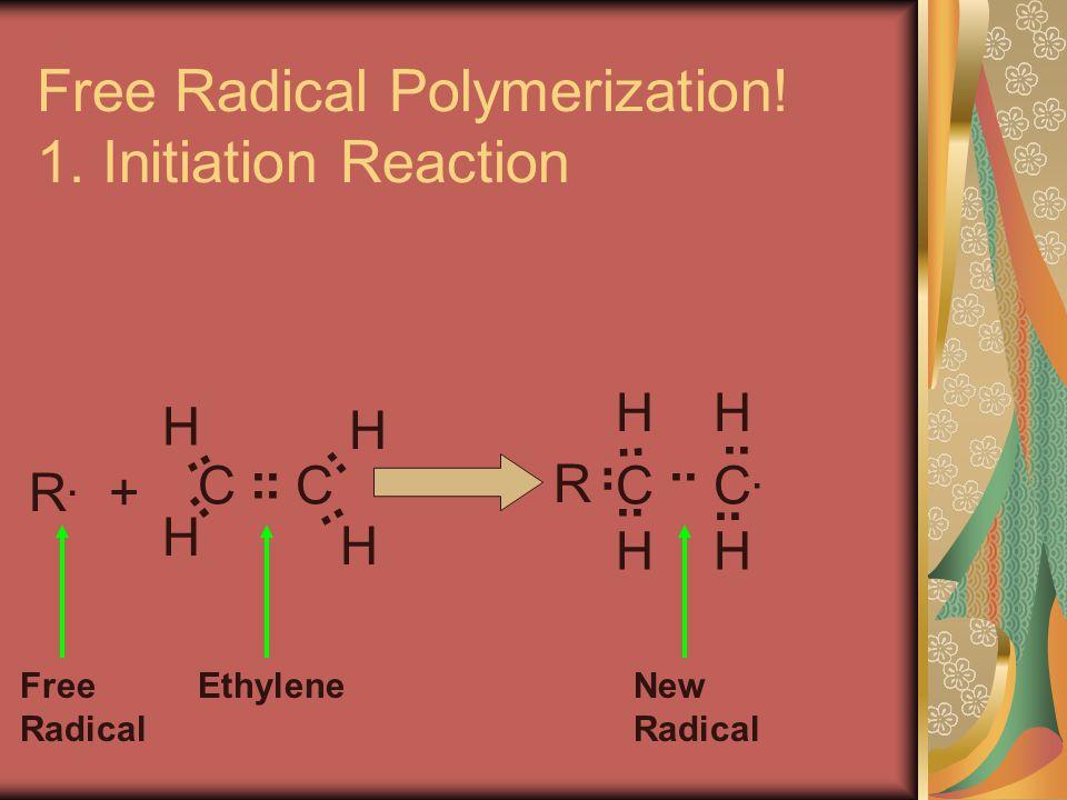 CC H H H H R.R. +.. CC.C. HH HH R Free Radical EthyleneNew Radical