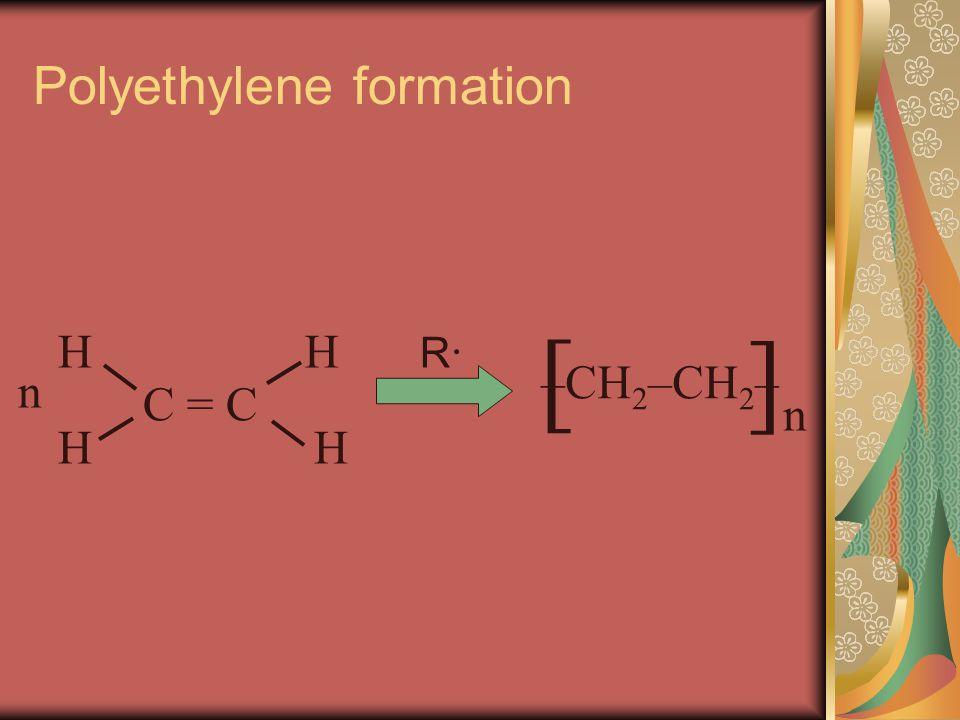 Polyethylene formation [ ]n]n –CH 2 –CH 2 – n C = C H HH H R·R·