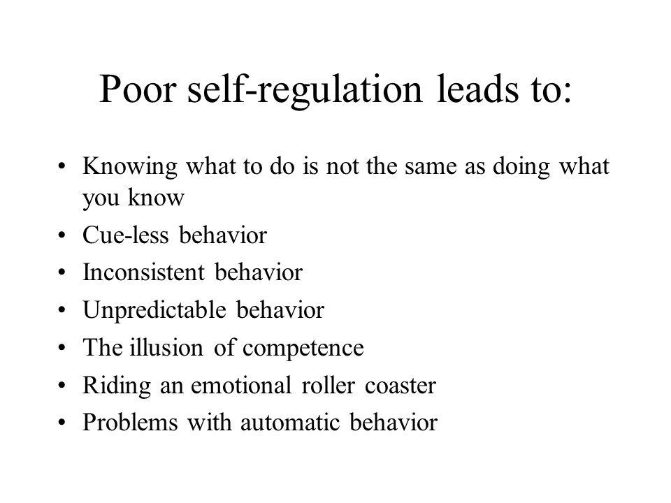 Poor self-regulation leads to... Impulsive behavior
