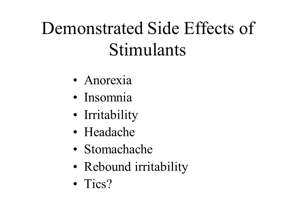 Stimulants Used to Treat ADHD Methylphenidate Dexedrine Cylert Adderall Buproprion Tricyclics (imipramine, desipramine, nortriptyline)