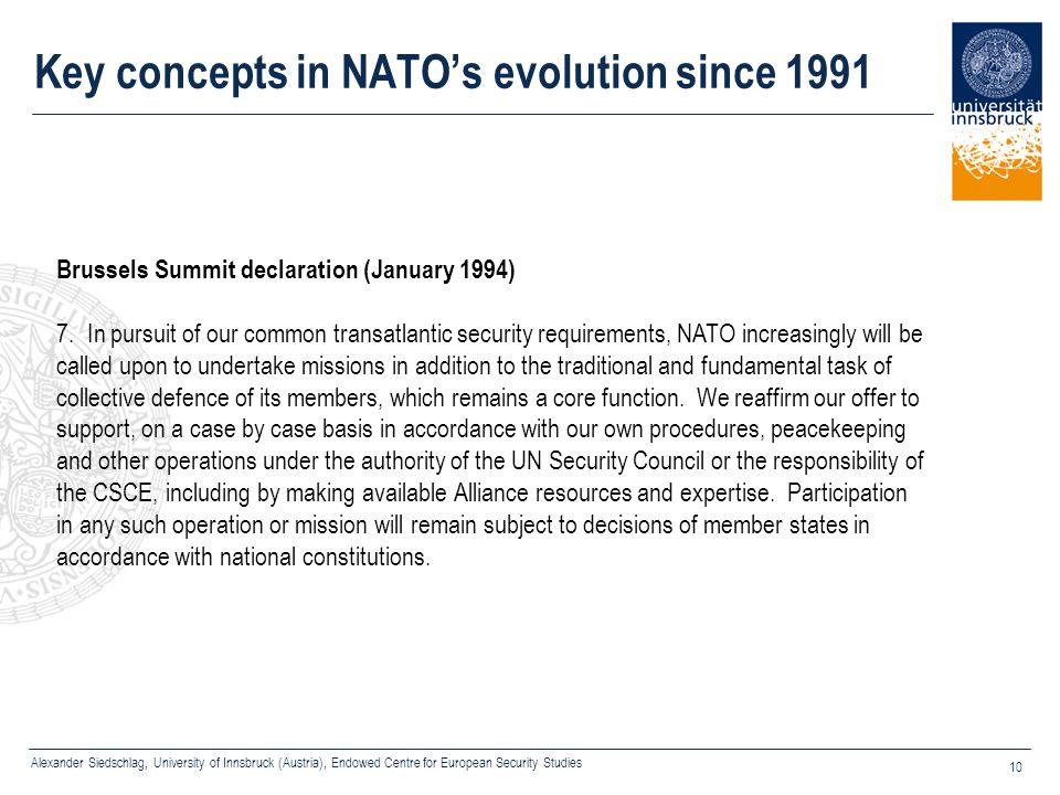 Alexander Siedschlag, University of Innsbruck (Austria), Endowed Centre for European Security Studies 10 Key concepts in NATO's evolution since 1991 B