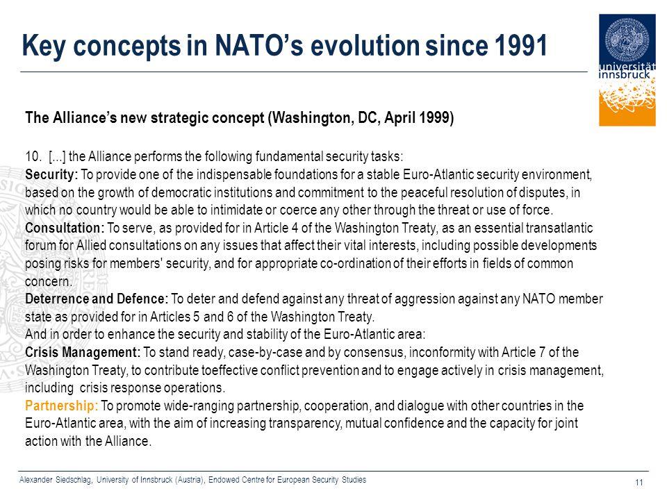 Alexander Siedschlag, University of Innsbruck (Austria), Endowed Centre for European Security Studies 11 Key concepts in NATO's evolution since 1991 T