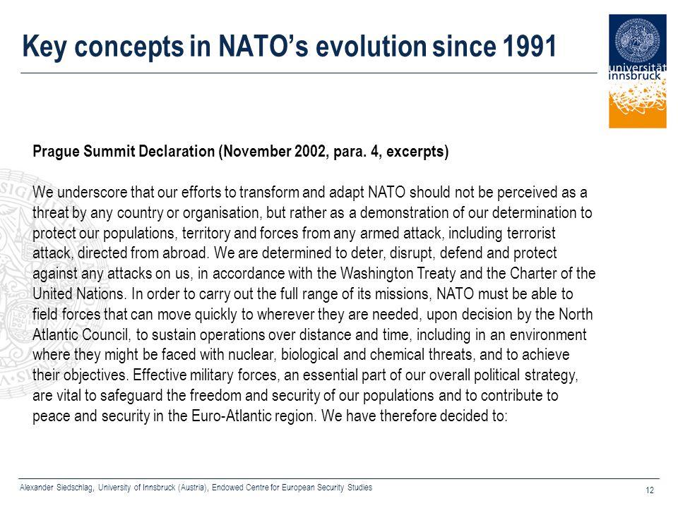 Alexander Siedschlag, University of Innsbruck (Austria), Endowed Centre for European Security Studies 12 Key concepts in NATO's evolution since 1991 P