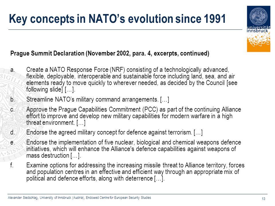 Alexander Siedschlag, University of Innsbruck (Austria), Endowed Centre for European Security Studies 13 Key concepts in NATO's evolution since 1991 P